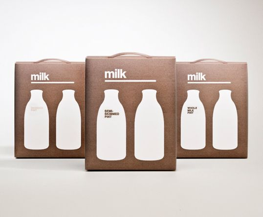 """""""I have designed cardboard milk packaging for glass milk bottles. The idea was to use a minimalist approach, keeping the packaging uncluttered and to make a bold statement as to what the product was.  The different types of milk were in different colours to make them easily distinguishable, with the number of bottles on the front indicating the number of milk bottles inside the package."""""""