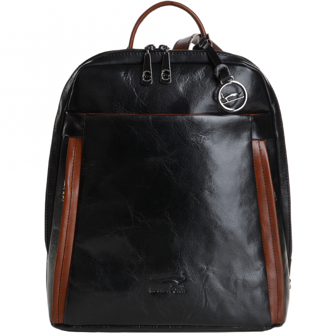 7c3f7472f23 MARTA PONTI Marta Ponti Small Italian Leather Backpack Black/cognac ...