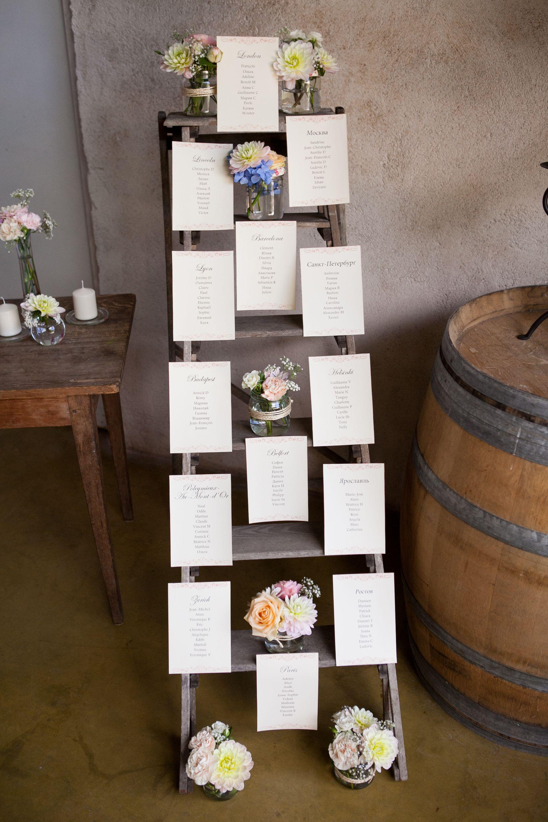Un Plan De Table Original R Alis Sur Un Escabeau En Bois Pour Un Effet Vintage Pour Le C T
