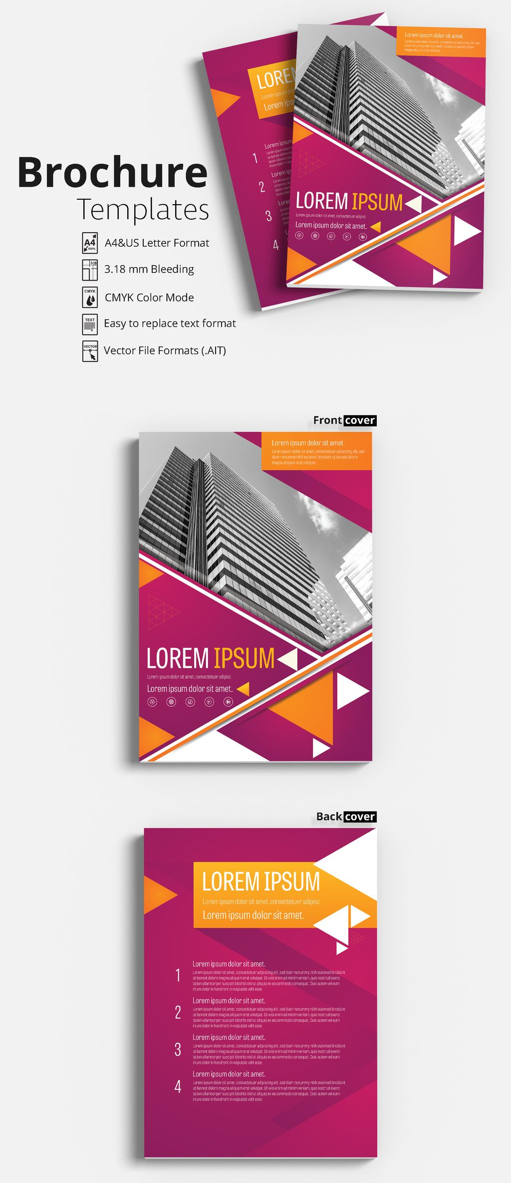 Flyer Brochure Template With Magenta And Orange Accents Flyer