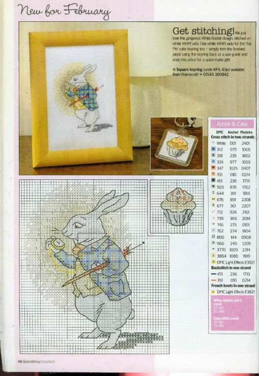 Alice in Wonderland 4/4 cross stitch pattern full colour white ...