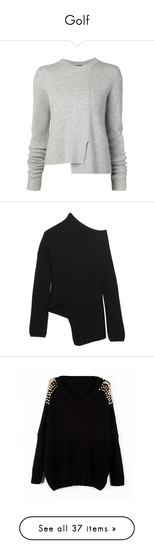 """""""Golf"""" by piccolauby ❤ liked on Polyvore featuring tops, sweaters, shirts, grey, crewneck shirt, long sleeve shirts, long sleeve sweaters, grey crew neck sweater, grey sweater and ribbed sweater"""