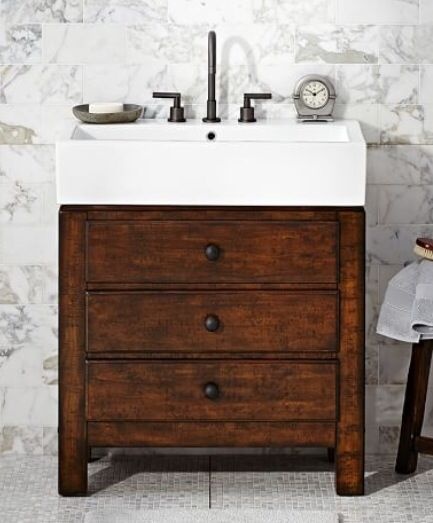 farmhouse sink small vanity in laundry bathroom. Black Bedroom Furniture Sets. Home Design Ideas