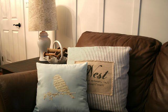 Silhouette heat transfer fabric interfacing pillow applique living room pinterest cojines - Cojines marrones ...