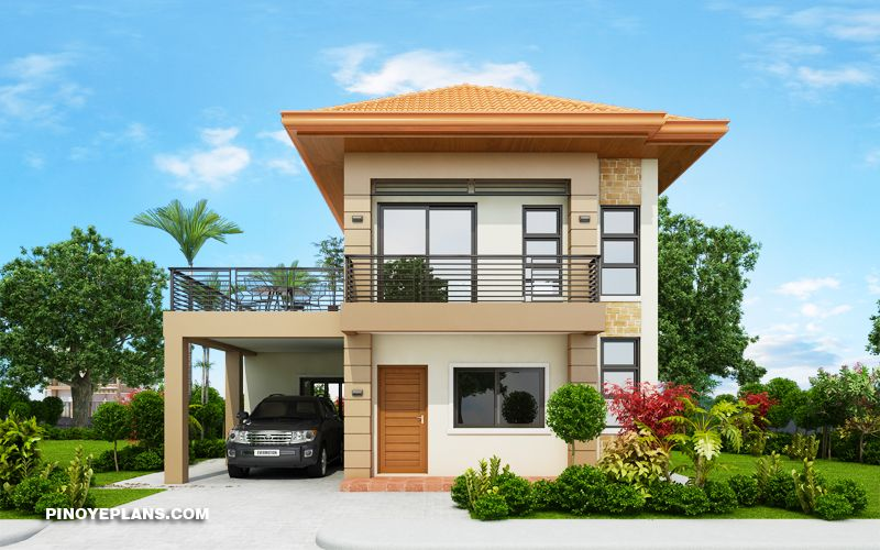 Havana Two Storey House With Spacious Terrace Pinoy Eplans Simple House Design Two Storey House Plans 2 Storey House Design