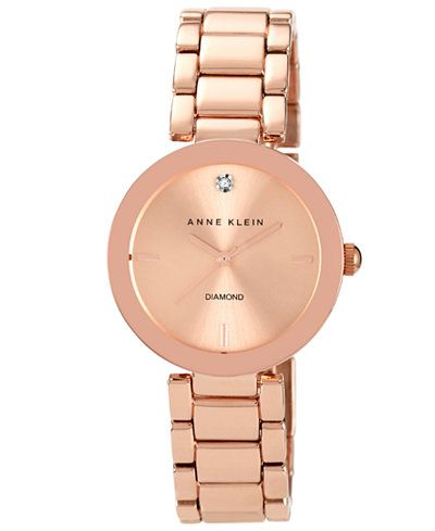 Anne Klein Watch Womens Diamond Accent Rose GoldTone Bracelet