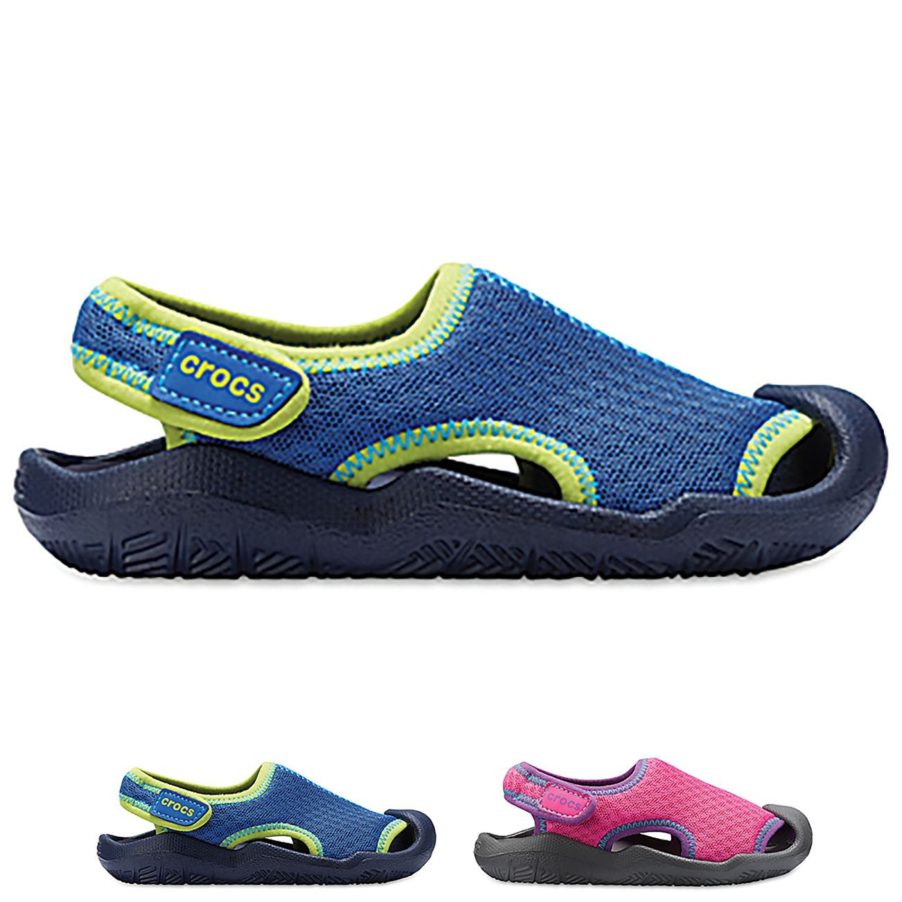 Unisex Kids Crocs Swiftwater Sandal Pool Holiday Water Resistant Shoes All Sizes