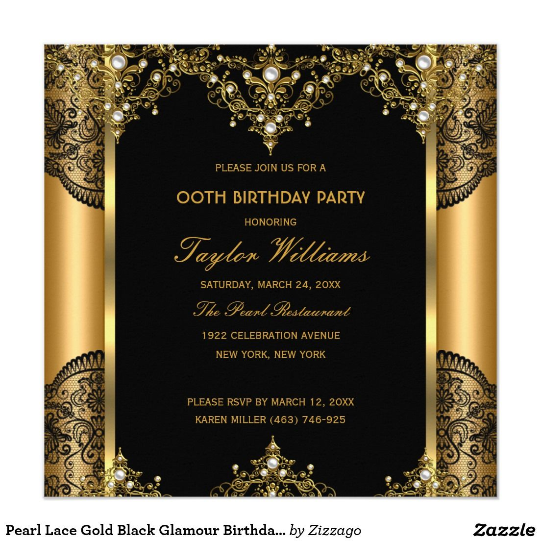 Pearl Lace Gold Black Glamour Birthday Party 2 Card | Birthdays ...