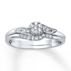 Diamond Bridal Set 1/6 ct tw Round-cut 10K White Gold