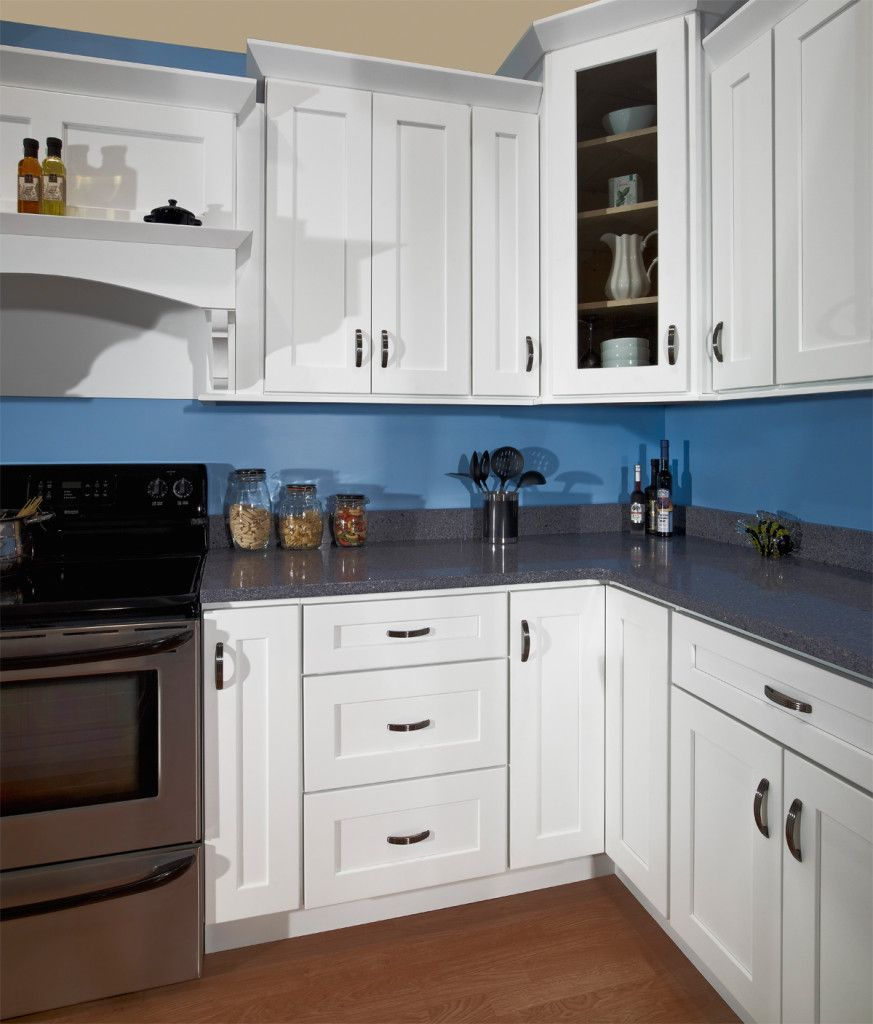 I like dark blue walls with white cabinets and wood floors. The grey ...