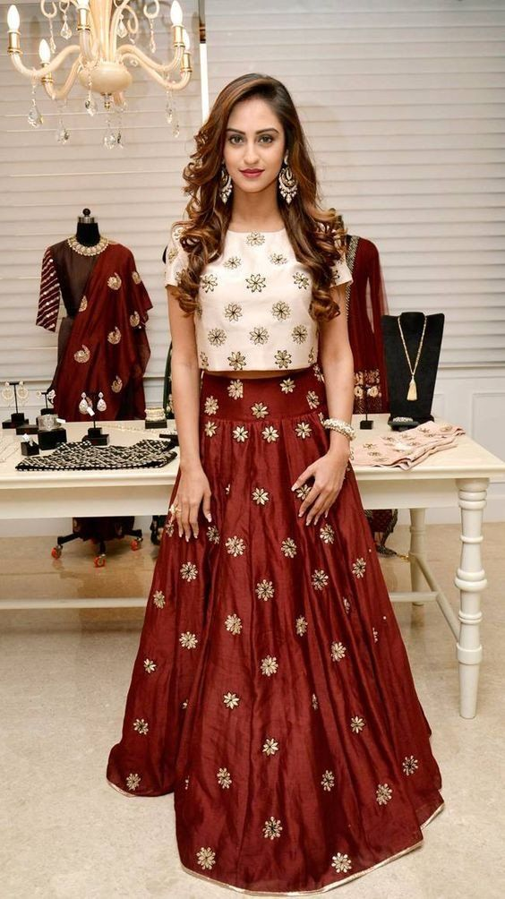 633a8981d59344 Maroon raw silk skirt and crop top (Crop Top Lehenga)