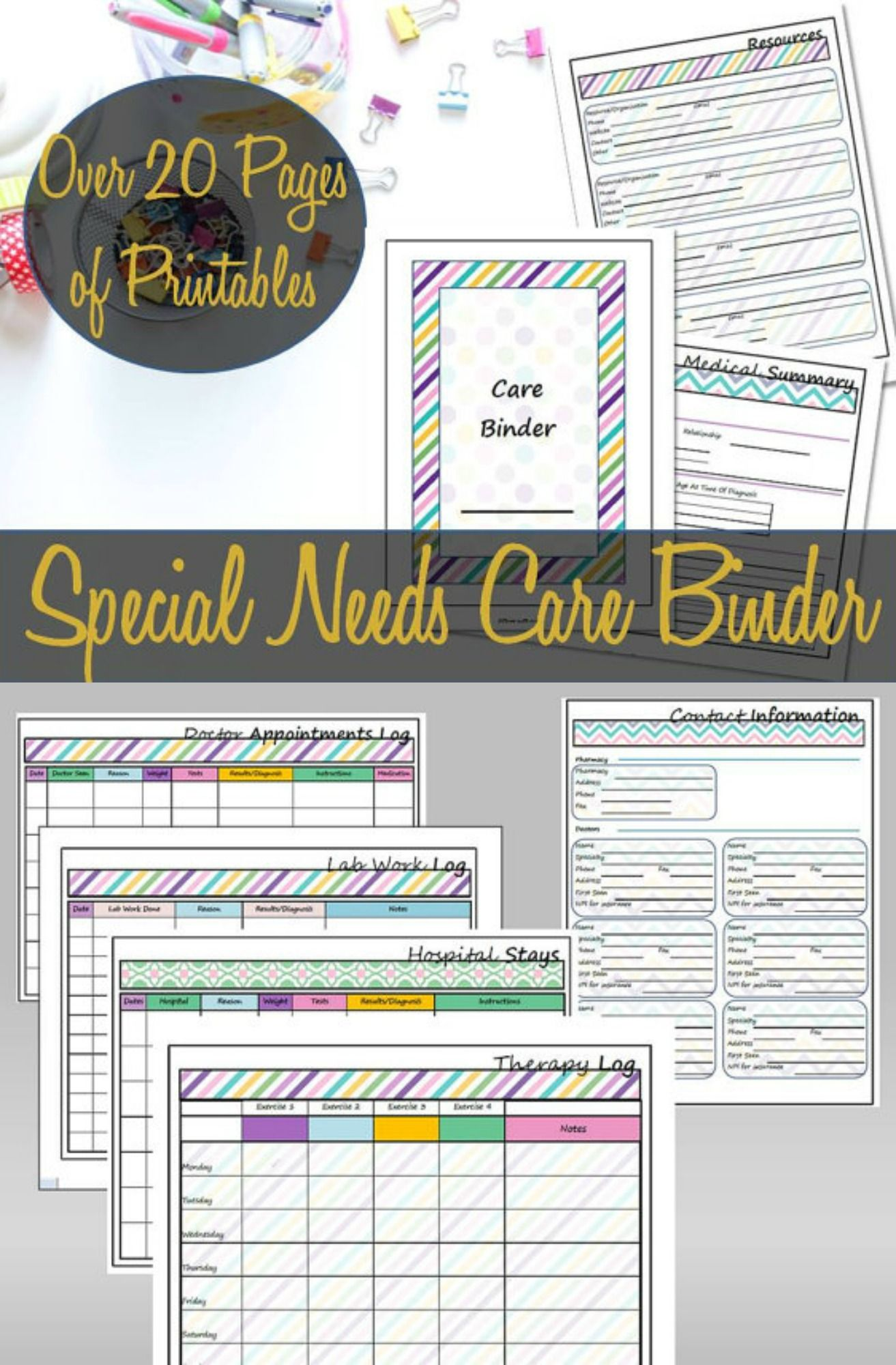 Special Needs Care Binder Printable