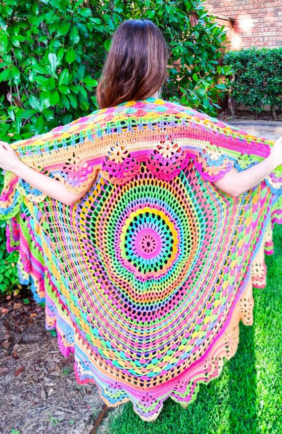 Crochet Bohemian Vest Long Boho Hippie Vest Adult One Size Fits