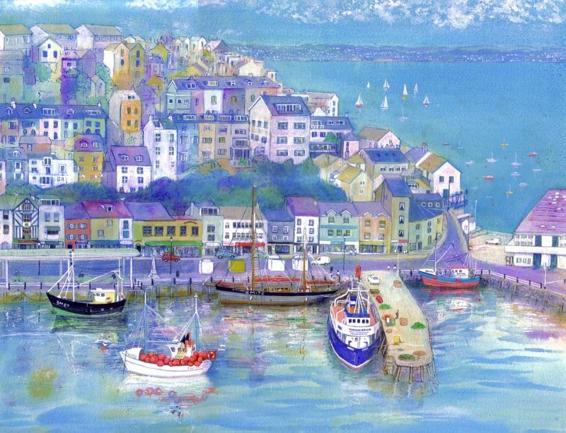 """Brixham"" a Limited Edition Giclee Print by Julia Finzel. Julia lives opposite this view of Brixham."