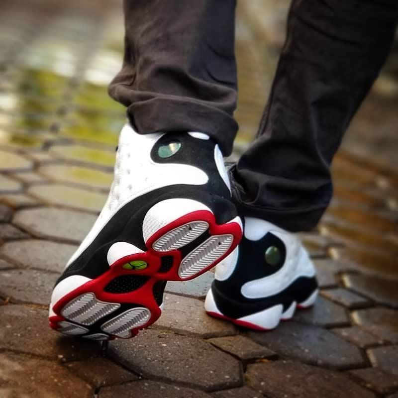 the latest e3936 795ec air jordan 13 he got game black and white 13s on feet image 1