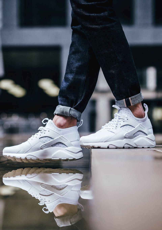 Nike Air Huarache Run Ultra Triple White sneakers sneakernews