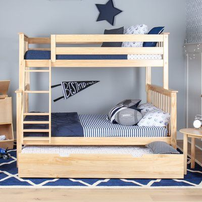 Max Lily Solid Wood Twin Over Full Bunk Bed With Trundle Bed Finish Bunk Bed With Trundle Bunk Beds Kids Bunk Beds Solid wood bunk beds twin over full