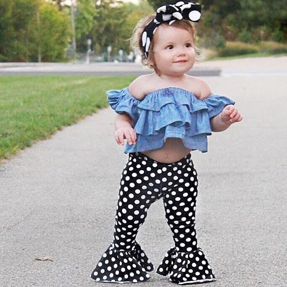 Toddler Girls Ruffle Floral Tops Off Shoulder Distressed Pants Clothes Set Outfits