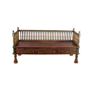 Hand Painted Carved Back Teak Wood Bench