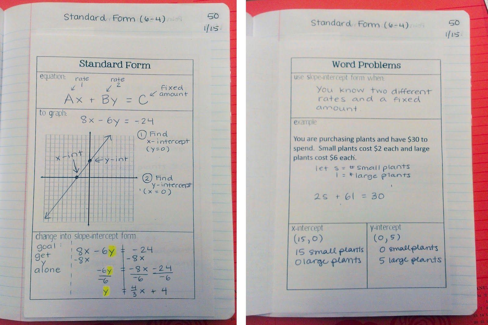standard form notes  Standard Form Notes | Math notebooks, Algebra, Math classroom