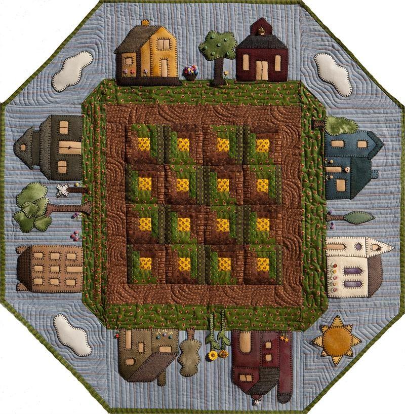 Prairie Town in SummerTable Topper Pattern CQA-502 (advanced beginner, houseware) quiltwoman.com