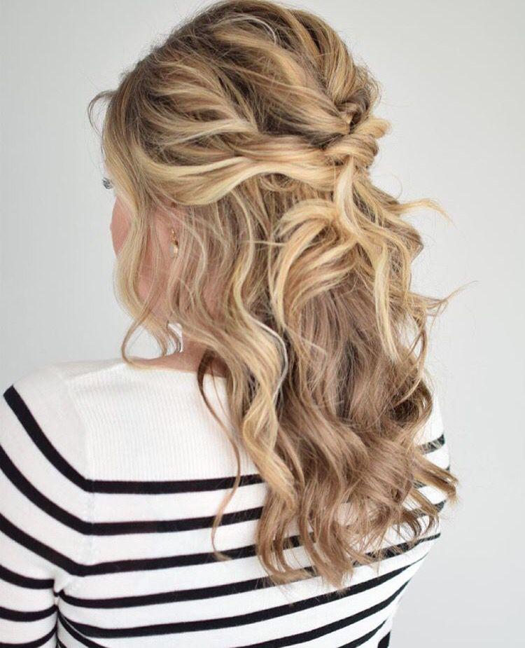 Curly Half Updo By K8smallthings Medium Length Hair Styles Curly Hair Styles Medium Hair Styles