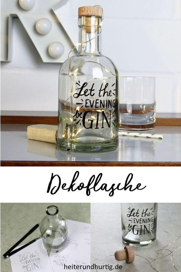 Beleuchtete Dekoflasche mit Lettering   heiterundhurtig.de – DIY Ideen: Basteln, Deko & Wohnen