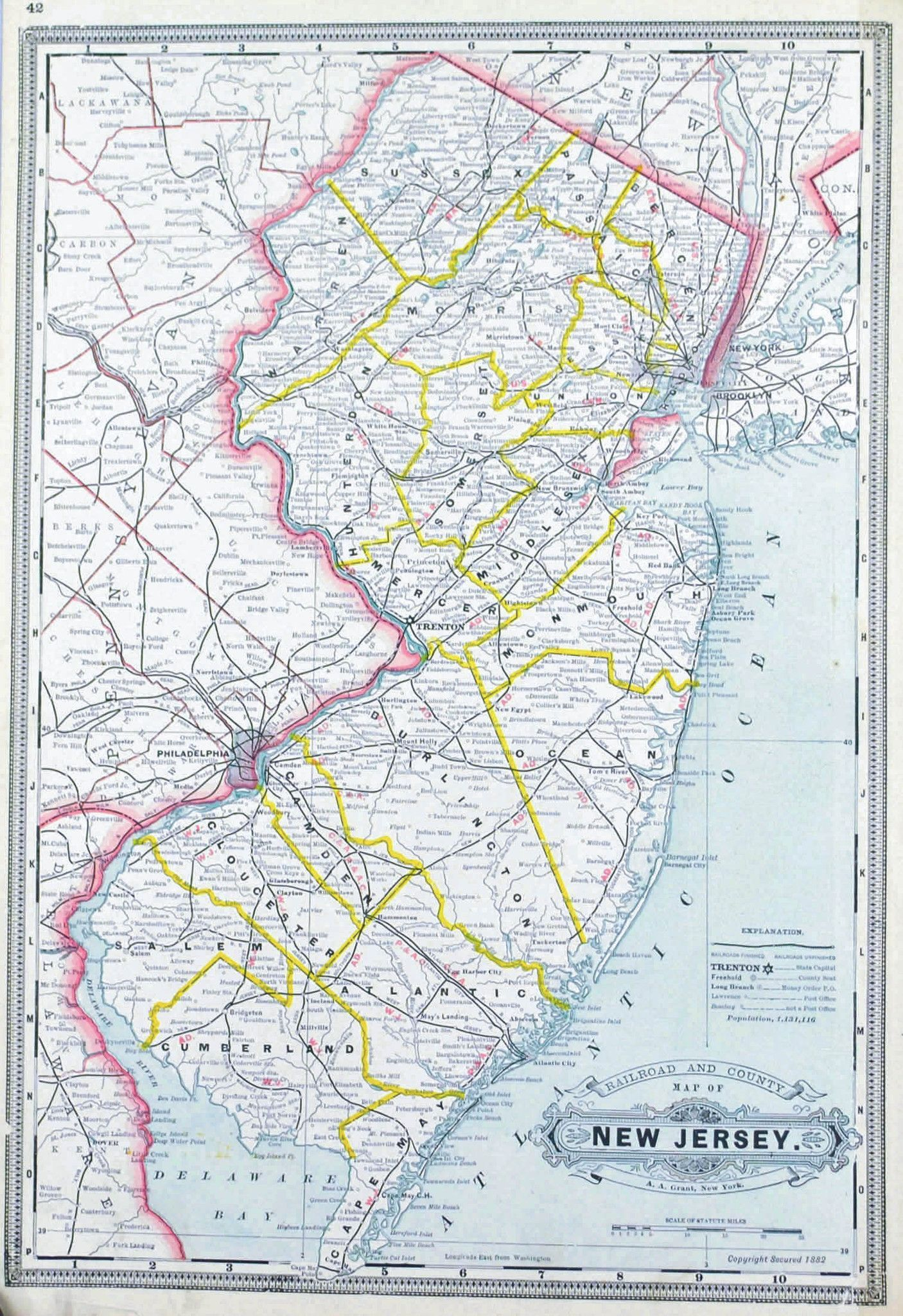 Railroad And County Map Of New Jersey