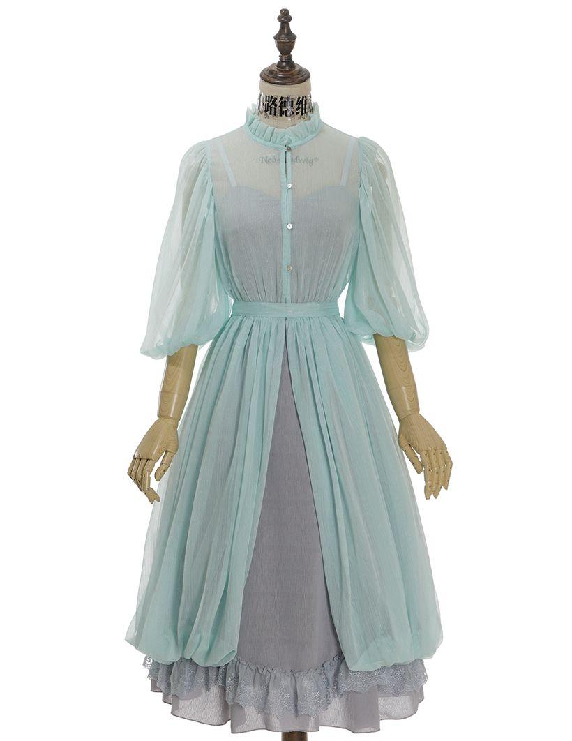 Vintage Linen Dress+Ruffle Half Sleeves Chiffon Bud Overlay Dress ...