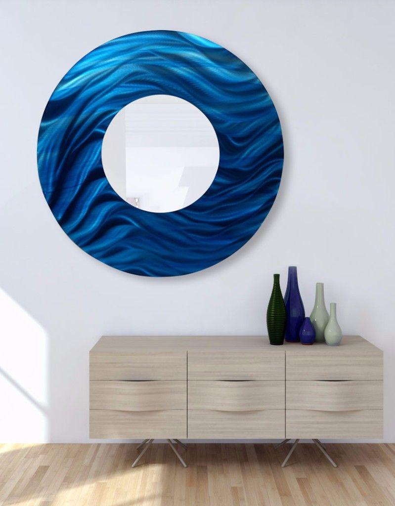 Blue Round Abstract Metal Wall Art Mirror Accent by Jon Allen | home decor | large art | interior design | modern art | modern | beautiful | # metalwallart ... & Blue Round Abstract Metal Wall Art Mirror Accent by Jon Allen | home ...
