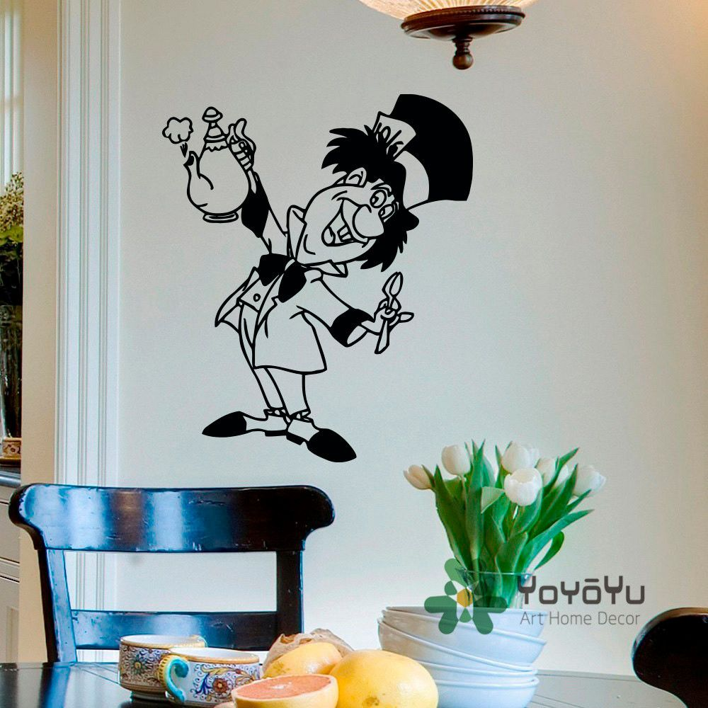 Mad hatter wall decal alice in wonderland decals vinyl stickers tea