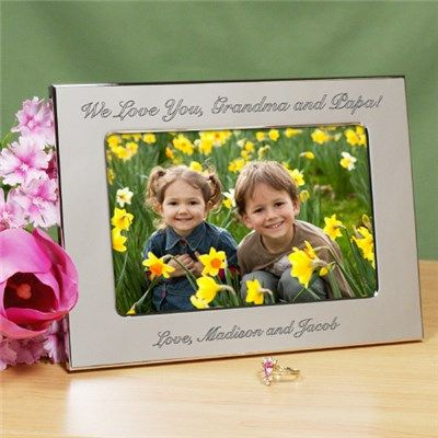 Engraved Custom Message Silver Picture Frame | Personalized Silver Picture Frame