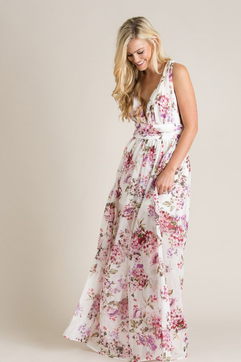 Ariana White Floral Maxi Dress   Lavender, Floral maxi dress and ...