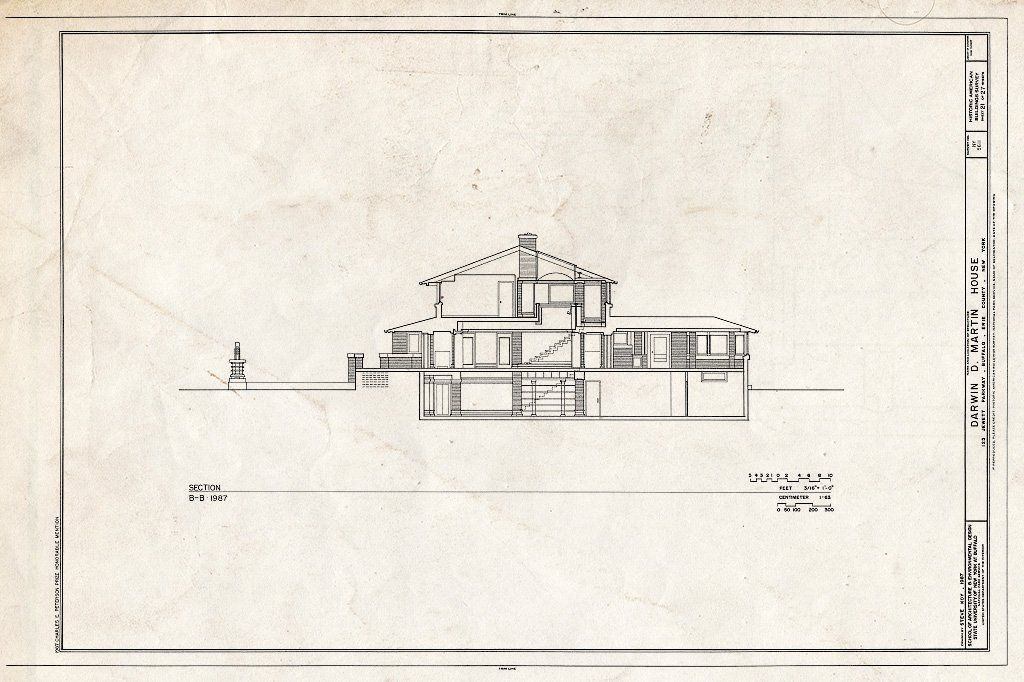 Blueprint HABS NY 15 BUF 5 Sheet 21 of 27 Darwin D Martin House 125 Jewett Parkway Buffalo Erie County NY