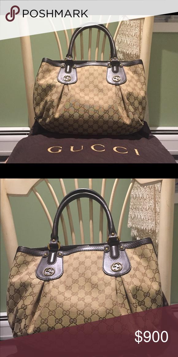 e4043ec08 Authentic Gucci Handbag Gucci GG canvas handbag. Preloved but like-new  condition. Seldomly used. Gucci Bags