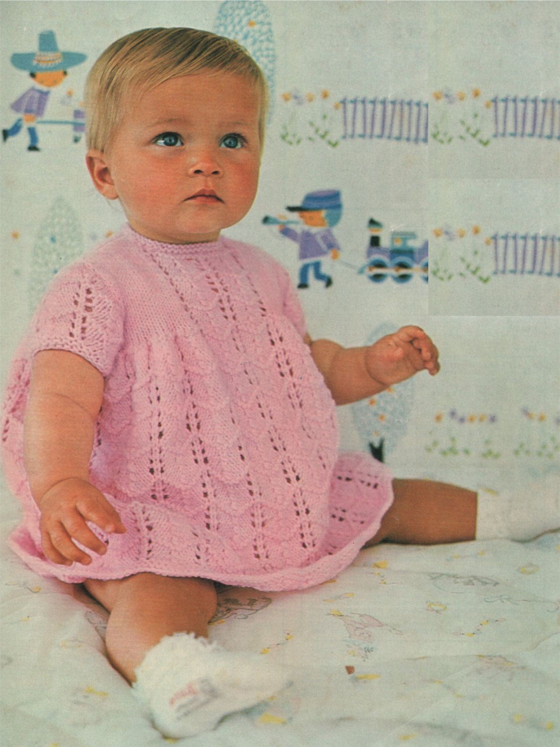 f894f9f1448d Baby Girls Dress PDF Knitting Pattern   Babies 20 and 22 inch chest ...
