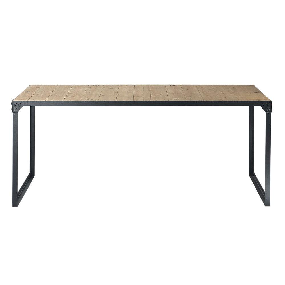 table manger indus en sapin et m tal 8 personnes l180. Black Bedroom Furniture Sets. Home Design Ideas