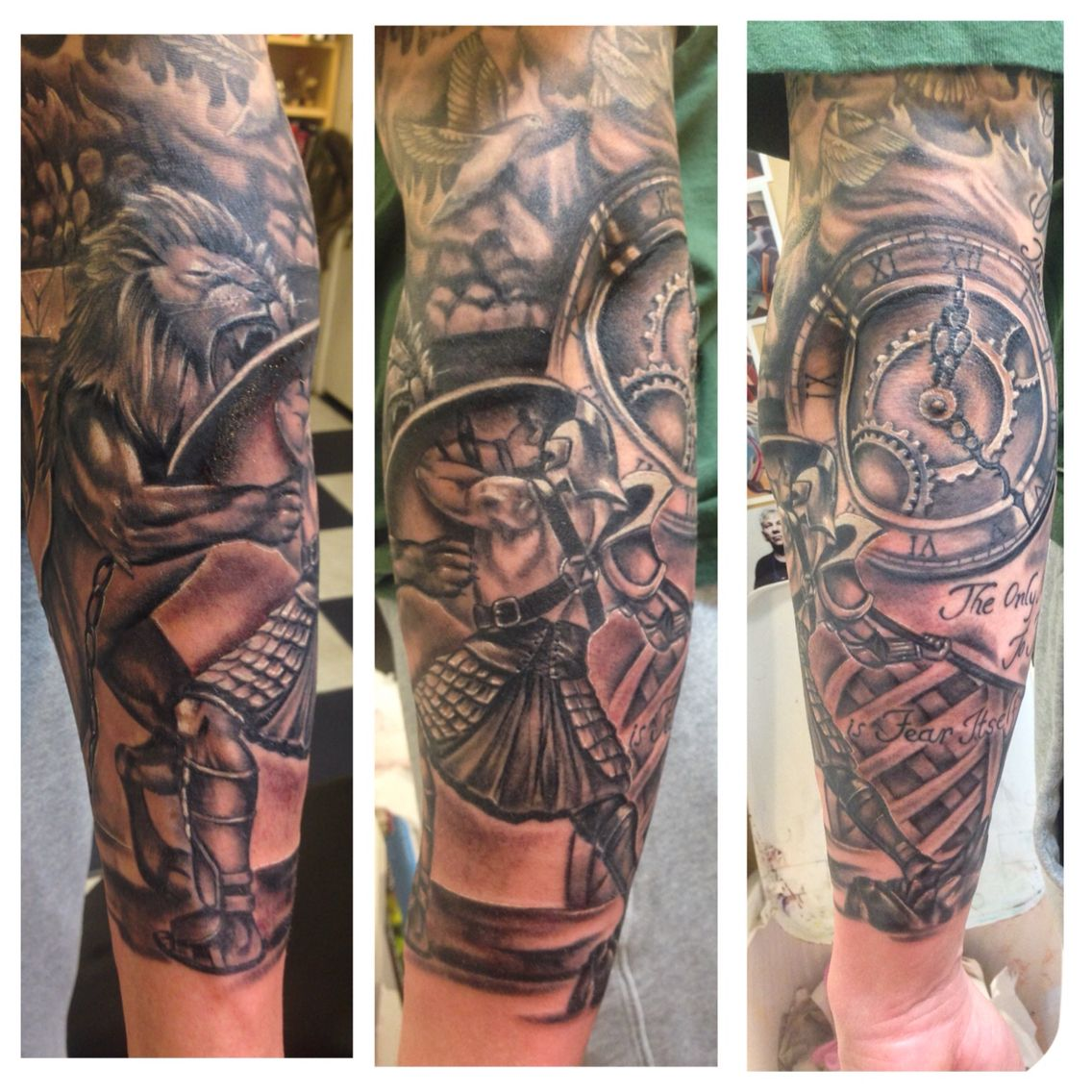 mark 39 s black and gray gladiator half sleeve tattoos pinterest men tattoos designs tattoo. Black Bedroom Furniture Sets. Home Design Ideas