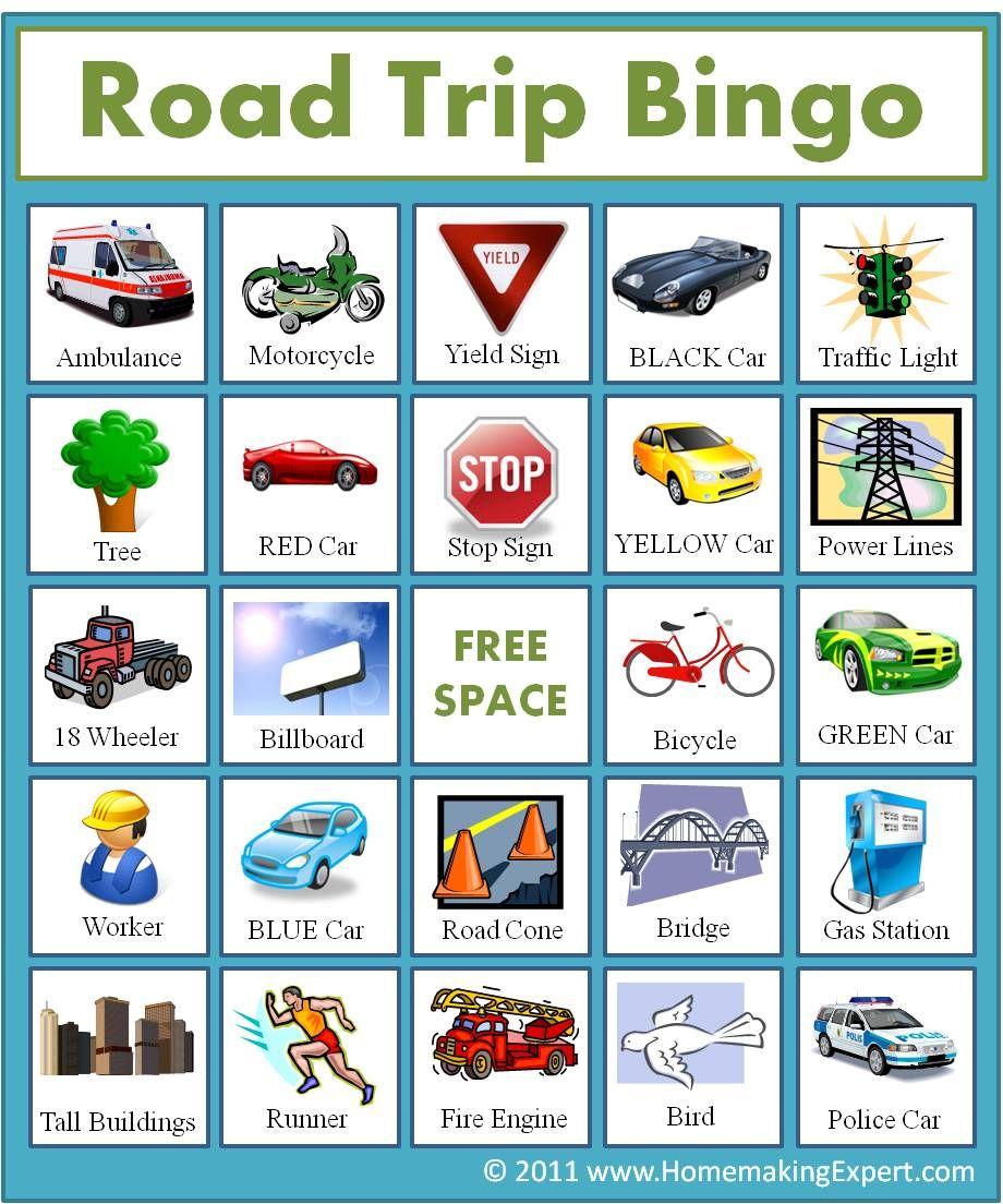 It's just a graphic of Declarative Road Trip Bingo Printables