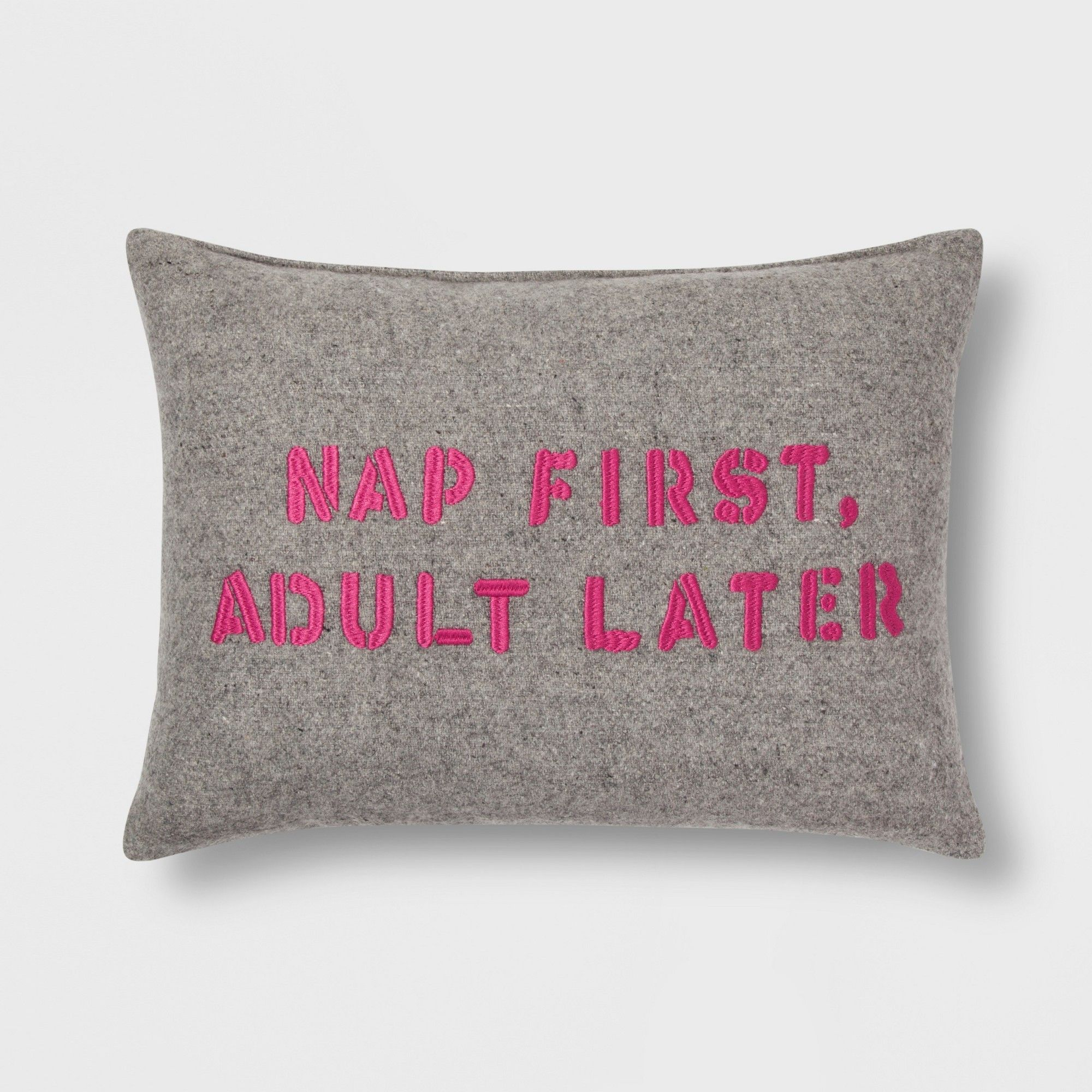 "Gray ""Nap First, Adult Later"" Lumbar Throw Pillow Room"