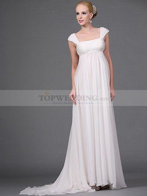 ed612a01527 Empire Style Cap Sleeved Long Flowing Chiffon Wedding Dress