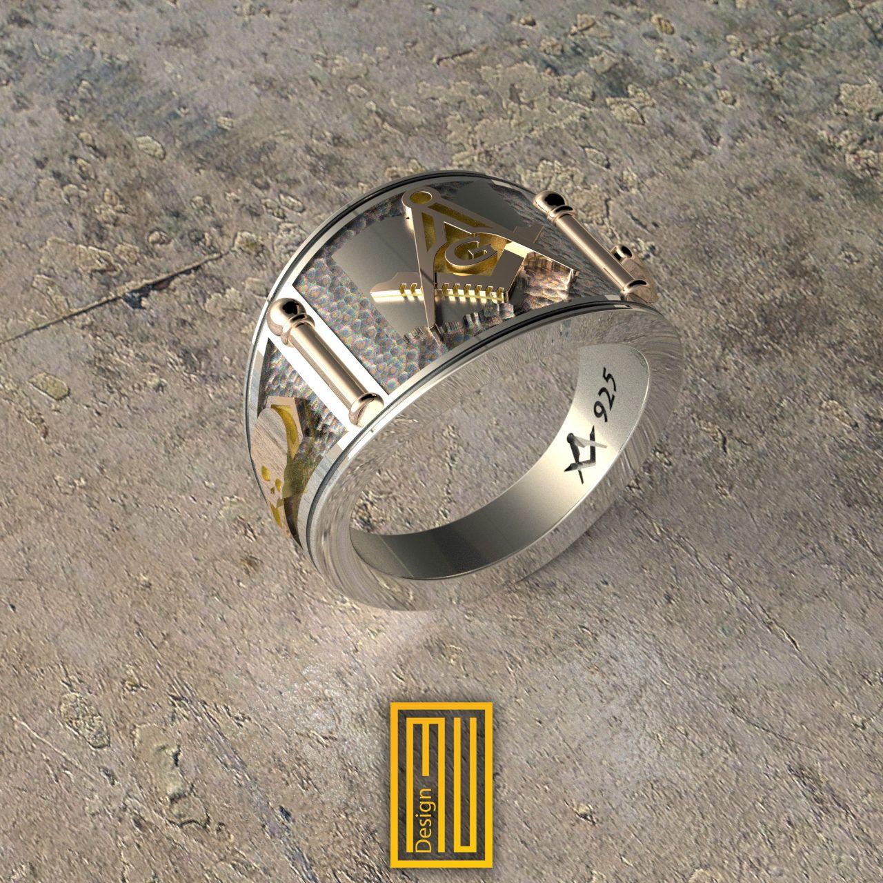 Ohio State Sign, Cigar Band New Style Masonic Ring Unique
