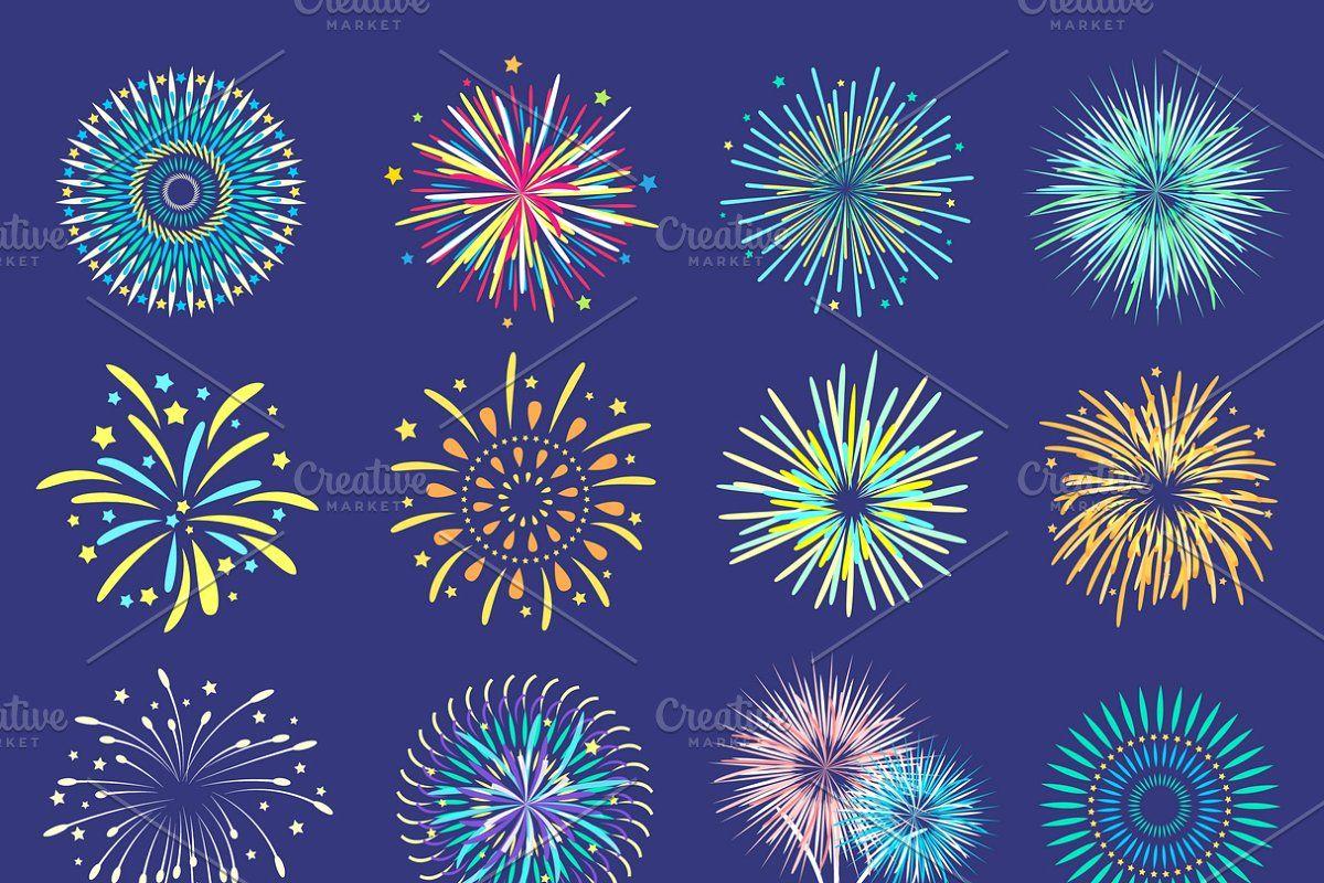 Firework Flat Set Sponsored Affiliate Abstract Flat Style Set Vector Illustration Design Realistic Transparent Background