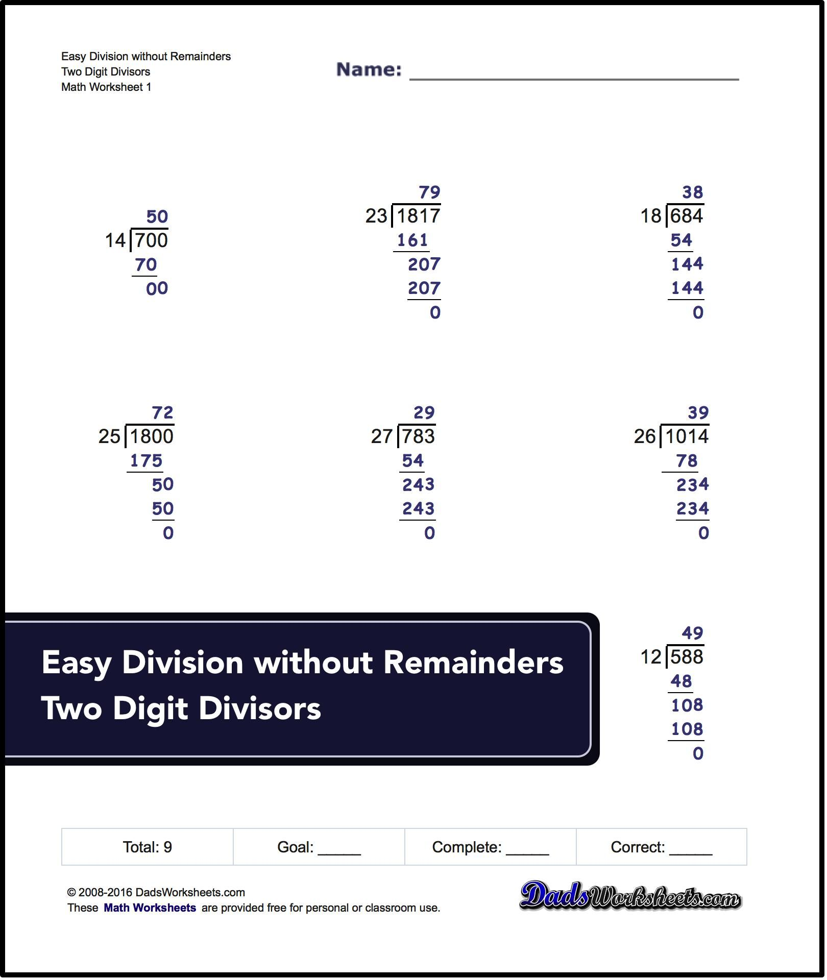Long Division Worksheets With Multiple Digit Divisors