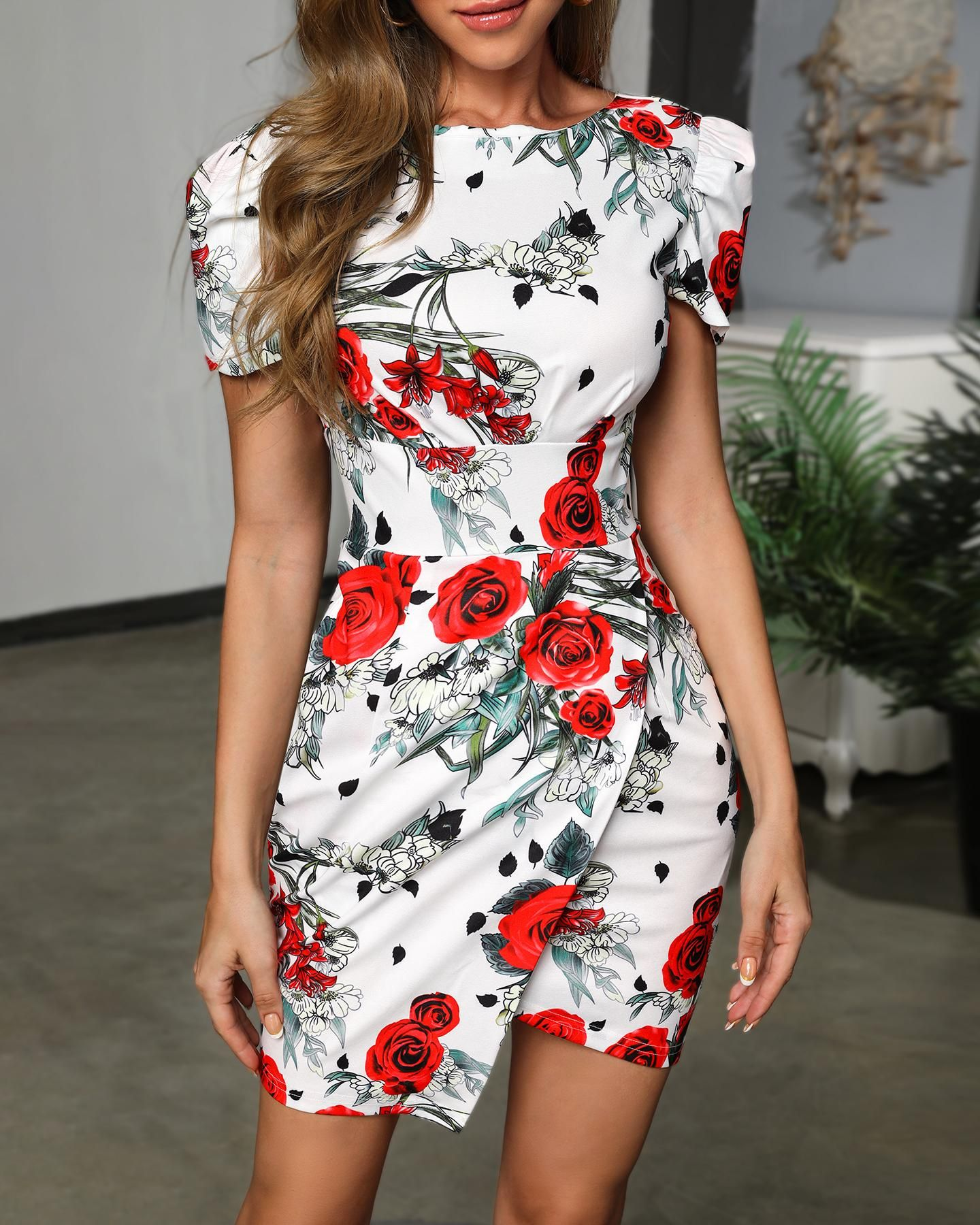 Floral puff sleeve backless dress dresses for work