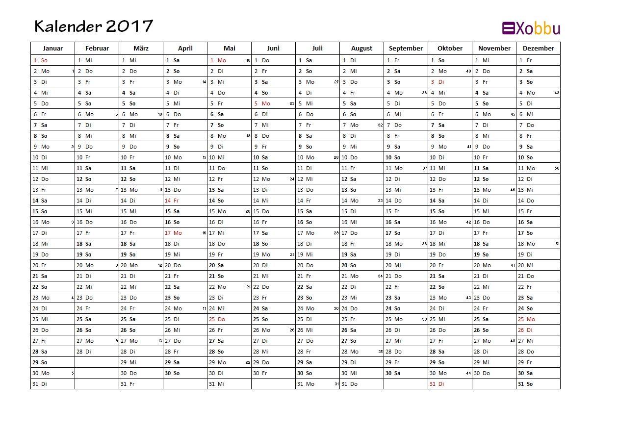 Jahreskalender Kalenderwoche KW Feiertage Excel PDF #vorlage #xobbu ...