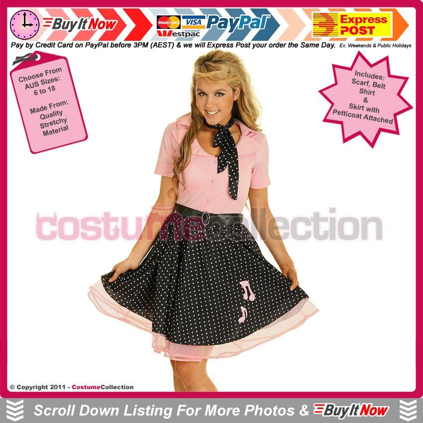 50s Grease Rock N Roll Bopper Outfit Vintage Fancy Dress Hen NYE Party Costume