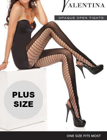 cf17dd087a641 Plus Size Prima Valentina Sheer and Opaque Open Tights. Cut out Back tights,  these tights are absolutely gorgeous wear these with that little black  dress to ...