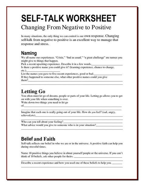 A multi-use exercise worksheet on self-talking taken from The ...