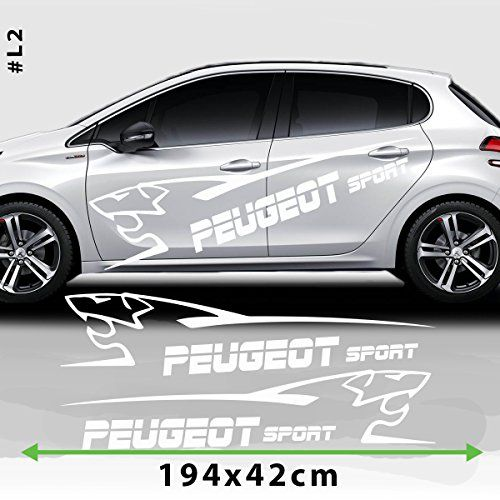 Peugeot Sport Racing Stripes Logo Stickers Decal For Peug... https://